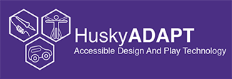 A purple banner logo for Husky ADAPT with three small octagonal images showing a soldering iron, a human body, and a toy car