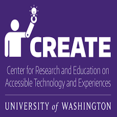 a white figure with a prosthetic arm holding a lightbulb up in the air, and the words CREATE- Center for Research and Education on Accessible Technology and Experiences