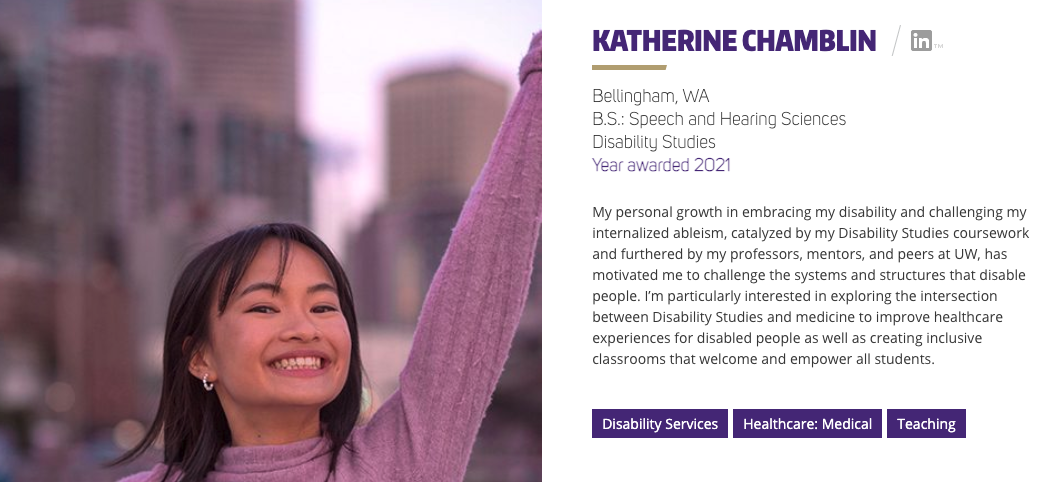 an image of an asian american woman in a pink sweater with shoulder length dark hair, smiling as she extends her arms out with a cityscape in the background. To the right of the photo is text with a personal statement from Katherine highlighting her Husky100 personal statement.